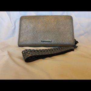 Rebecca minkoff leather wristlet, metallic grey